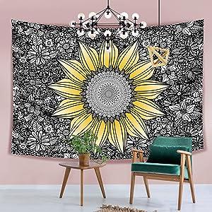 """Hexagram Sunflower Tapestry Wall Hanging Bohemian Mandala Flowers Tapestry Yellow Wall Tapestry for Room Dorm Decor, 59"""" x 59"""""""