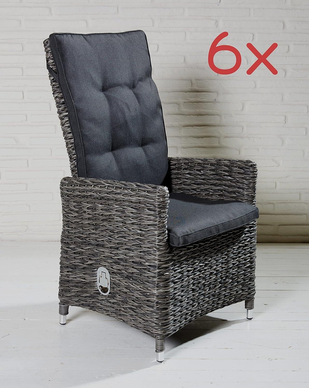 Polyrattan Gartenstühle Gartensessel grau Gartenstuhl Stühle Sessel Alu 6 Stück