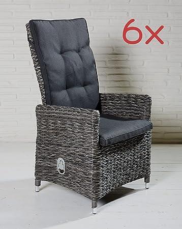 Fantastisch Polyrattan Gartenstühle Gartensessel Grau Gartenstuhl Stühle Sessel Alu 6  Stück