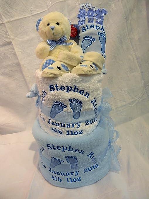 Tarta de pañales 2 Tier personalizado para un niño o niña bebé cesta de ducha de