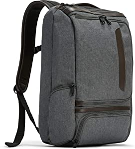 eBags Pro Slim Leather Trim Laptop Backpack (Heathered Graphite/Brown Trim)