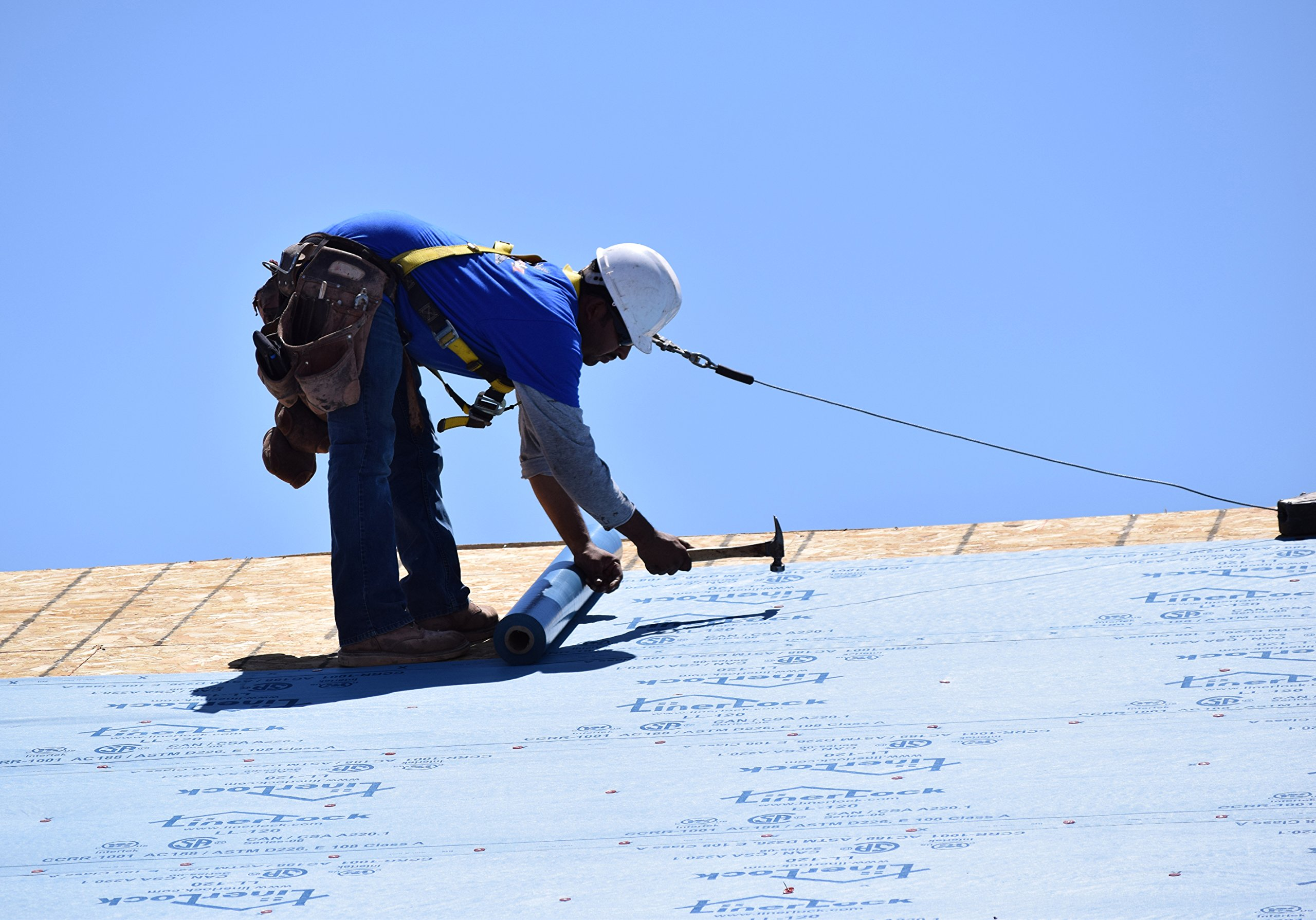 Synthetic Roll Roofing Underlayment 4' x 250' Blue Color Replaces 15# Roofing Felt Liner Lighter Weight and 10x Stronger than Felt, 25 Year Warranty! by LL-120 Series (SuperLock RU)