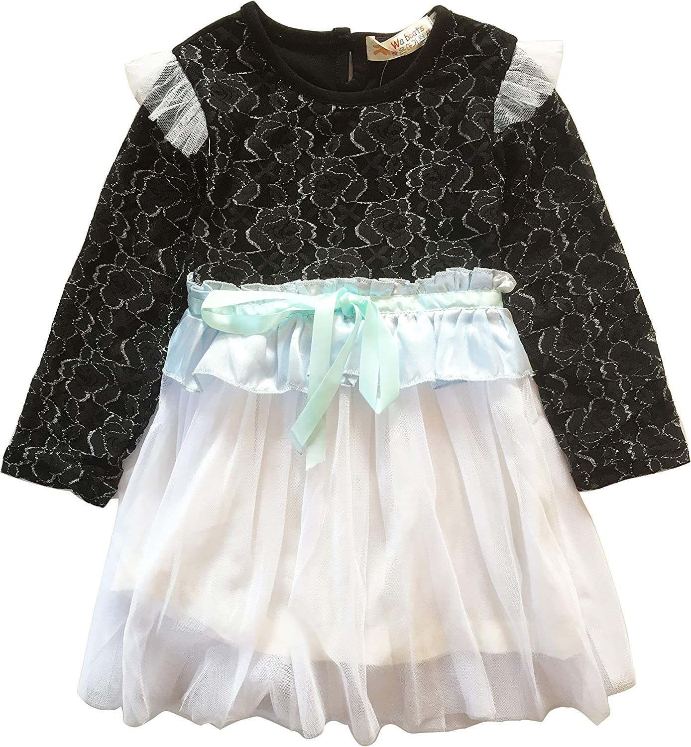 Beloved Lucia Girls Spring/&Fall Dresses Transparent Sleeves 2-6Y Black 2-3