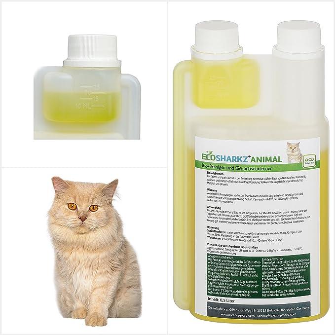 Neutralizadores de olor para gatos - natural removedor de la orina del gato - contra el olor de la caja de arena – Ecosharkz for Cats (500 ml de ...