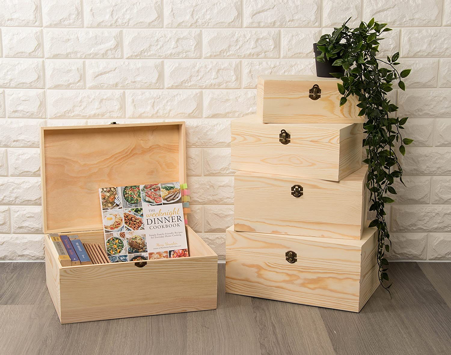 Juvale Wooden Boxes Crafts 5-Piece Hinged-Lid Nesting Boxes for Arts Unfinished Wood Natural Wood Color Hobbies and Home Storage