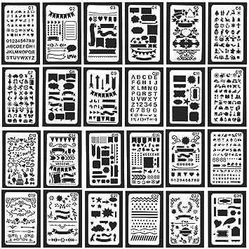 12 plantillas Velidy de plástico para decorar diarios, cuadernos, álbumes de recortes, escribir y hacer garabatos 24PCS: Amazon.es: Hogar