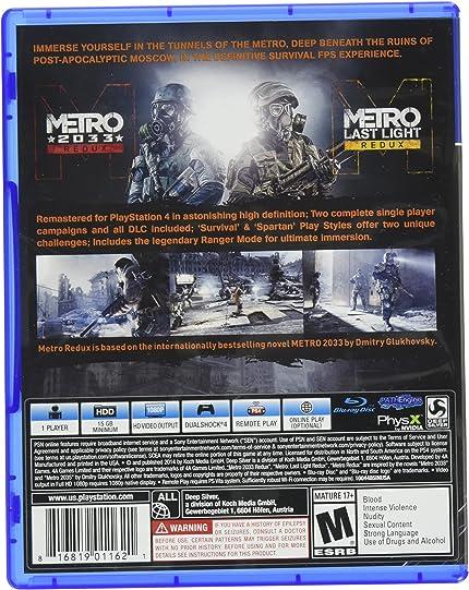 1824eb37d Amazon.com  Metro Redux - PlayStation 4  Square Enix LLC  Video Games