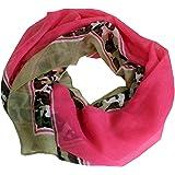NeonMilita - Quadrat Schal mit Camouflage Look Rand NEONFarben Halstuch DAMEN Herbst Winter