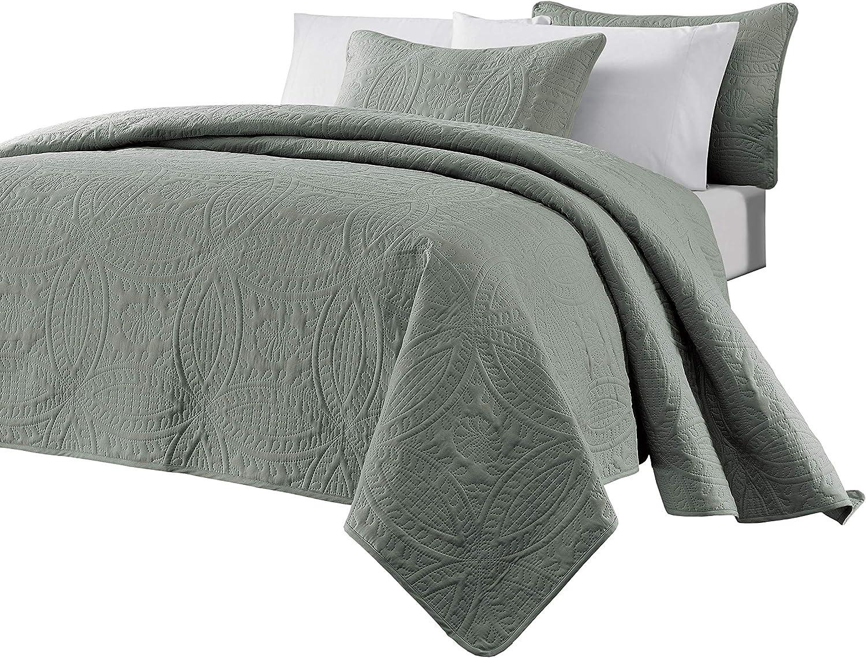 "Chezmoi Collection Austin 3-Piece Oversized (100""x106"") Bedspread Coverlet Set Queen, Sage"