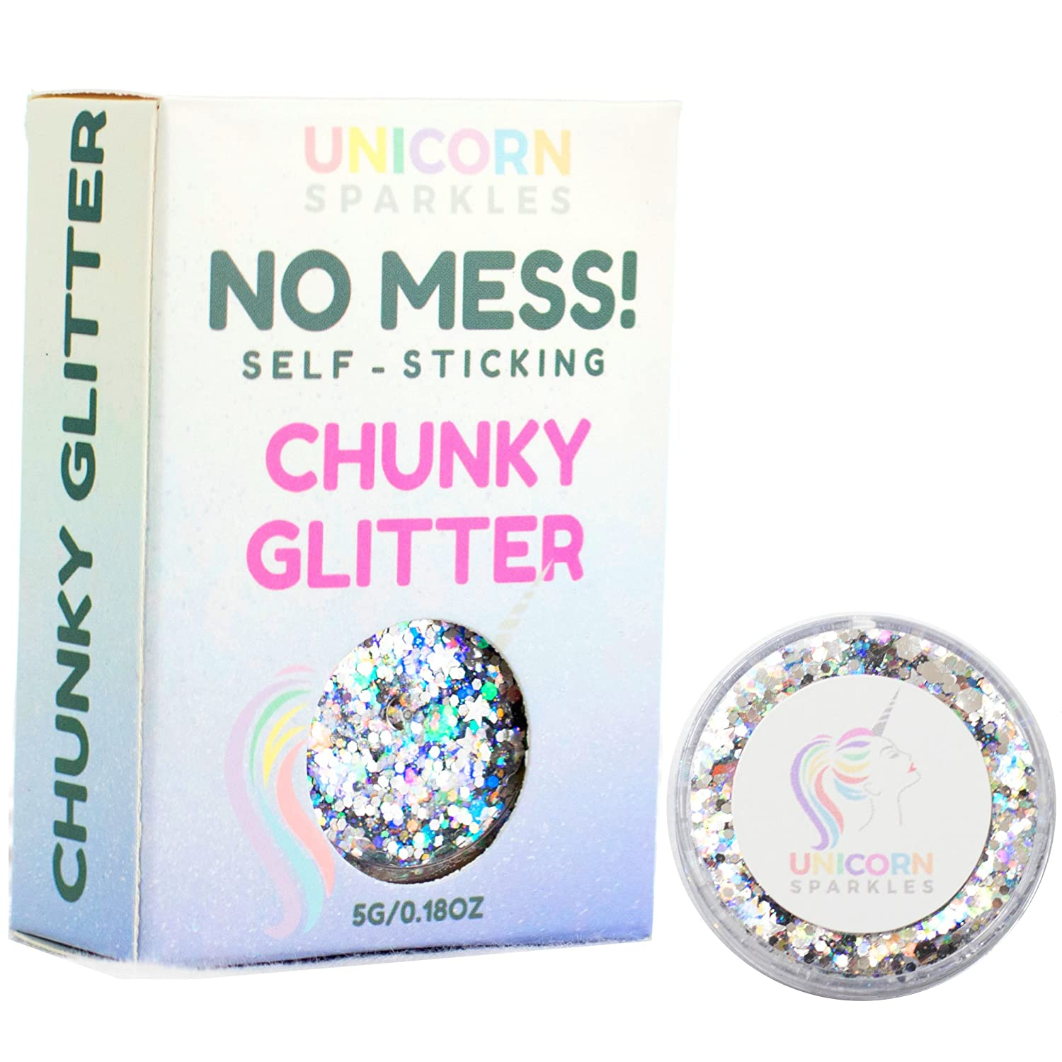 Holographic Silver Cosmetic Chunky Glitter | Self-Sticking, Aloe Vera Based, No Glitter Primer Needed | Cosmetic Glitter for Face & Body | by Unicorn Sparkles | Events, Festival, Party Makeup Heaven Vibes