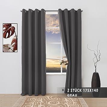 FLOWEROOM Grau Verdunkelungsvorhänge Blickdichte Gardinen Mit Ösen 2 Stück  175x140cm(HxB) Für Schlafzimmer/