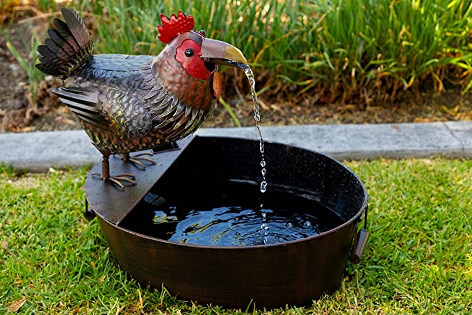 Alpine Corporation Metal Rooster Fountain