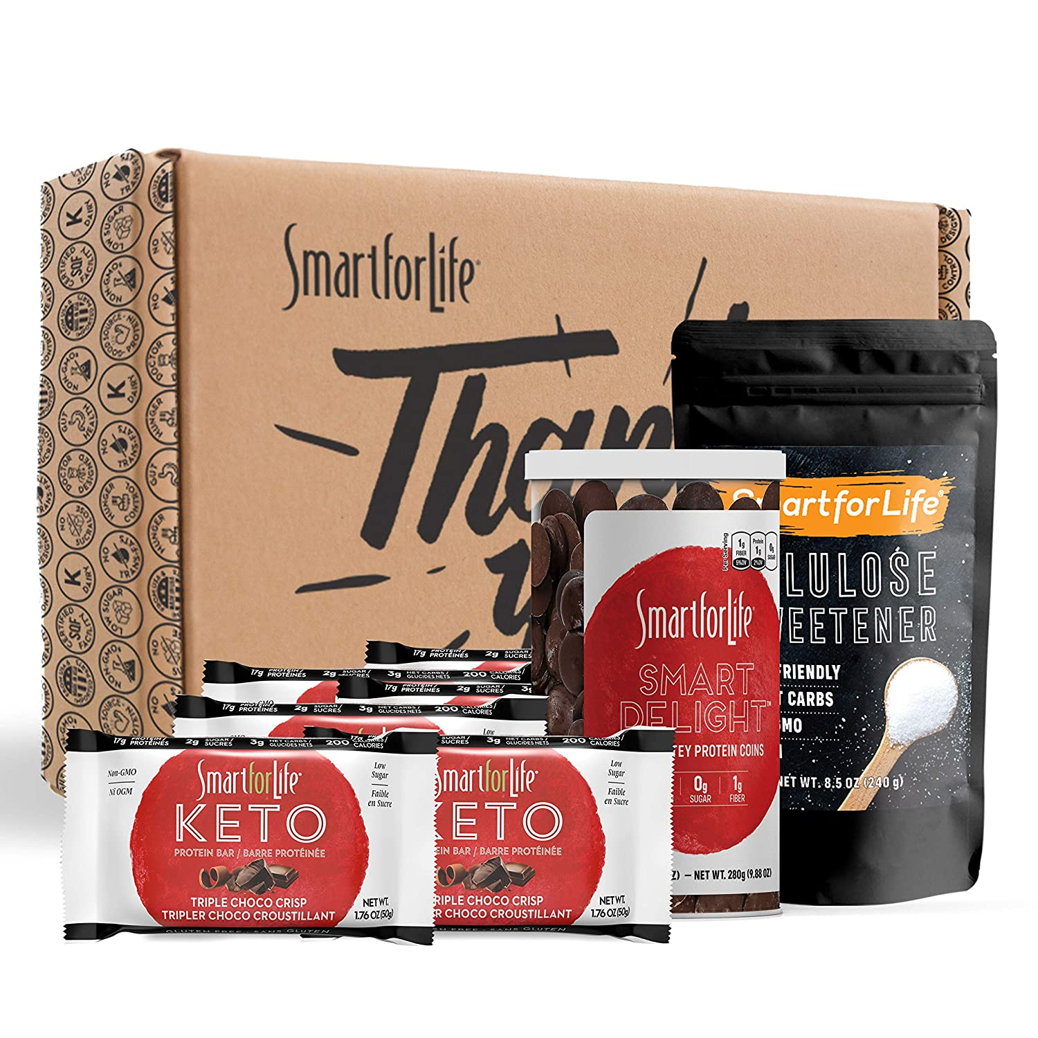 Smart for Life Keto Snack Box Gift Set with Keto Food - Keto Bars for Meal Replacement, Allulose Keto Sweetener, and Keto Chocolate Coins - Perfect for Keto Diet