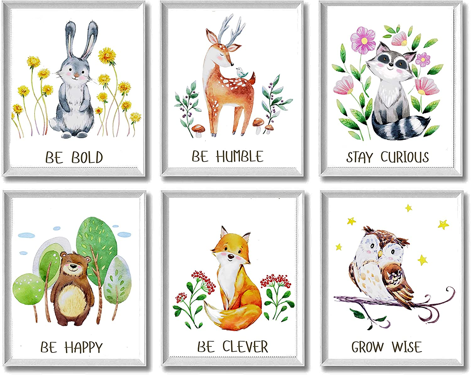Woodland Animals Nursery Decor Unframed Wall Art -Set of 6 Prints 8x10- Bunny Rabbit, Forest Deer, Brown Bear, Owl, Raccoon, Fox Forest Creatures for Baby Toddler Boy Girl Playroom, Bedroom, Daycare