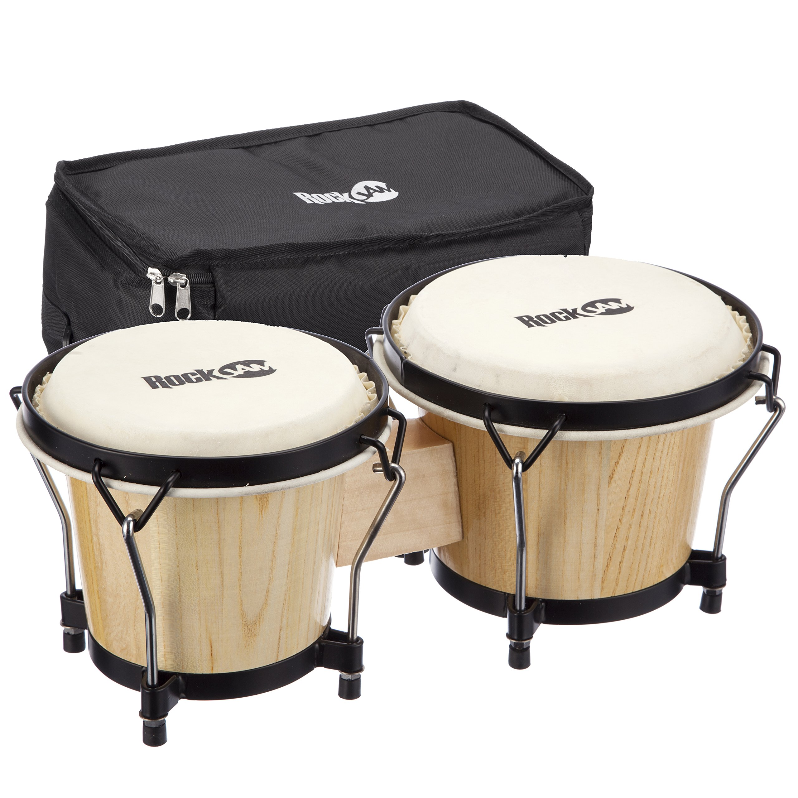 RockJam 7'' and 8'' Bongo Drum Set with Padded Bag and Tuning Key, Natural by RockJam
