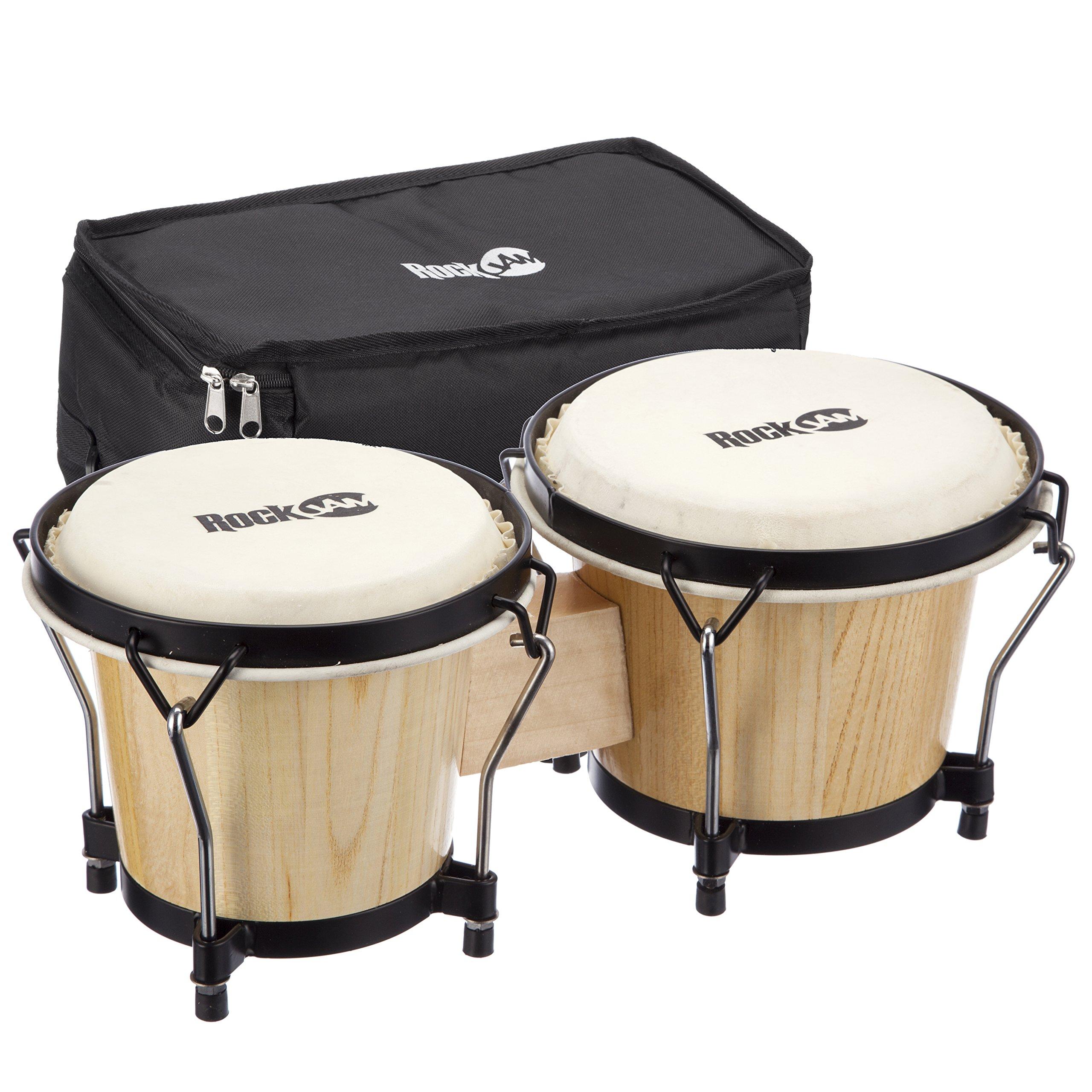 RockJam 100300 7'' & 8'' Bongo Drum Set with Padded Bag, Natural