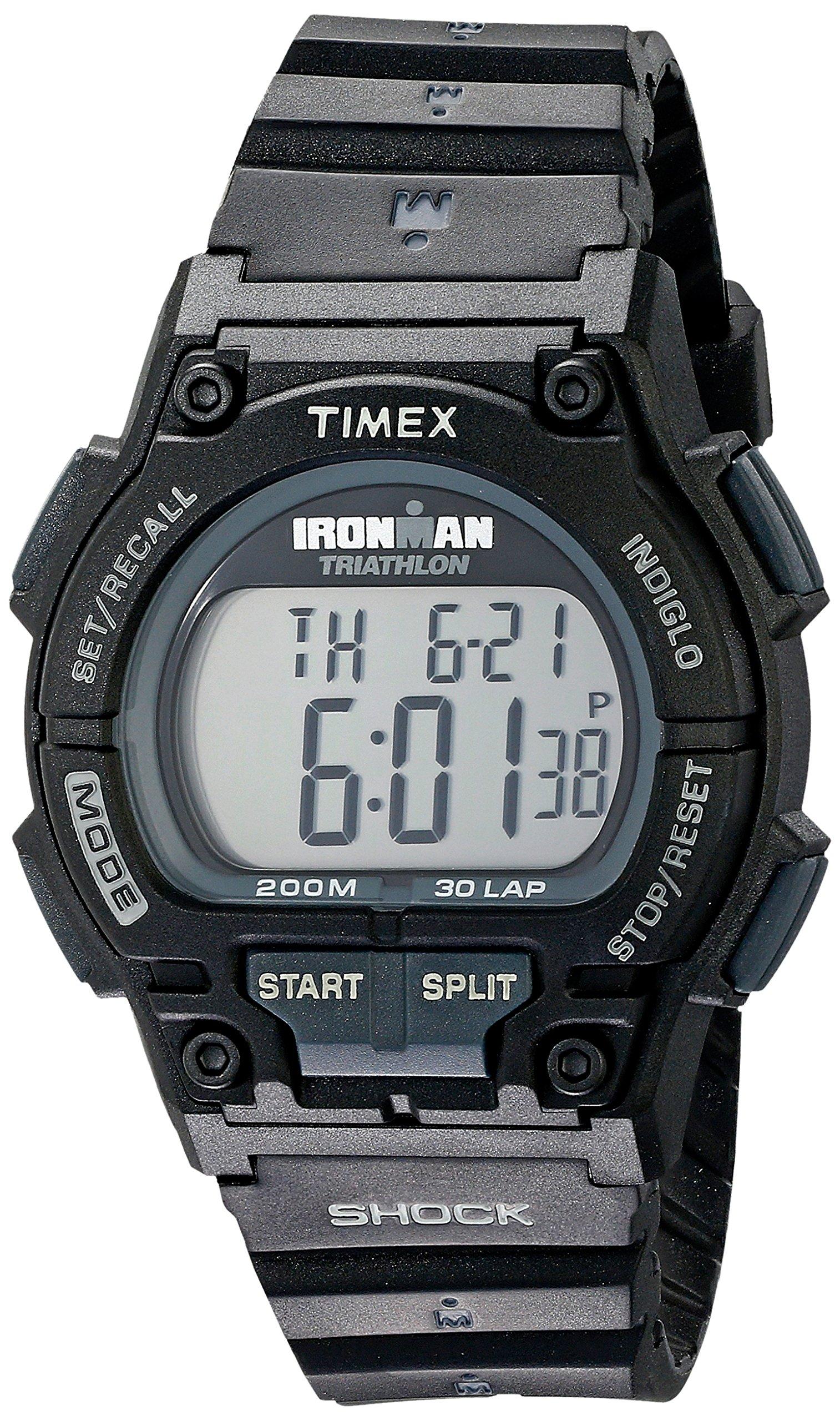 Timex Men's T5K196 Ironman Original 30 Shock Full-Size Black Resin Strap Watch