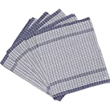 wonderdry 100 cotton checked tea towels white with blue check pack of 5