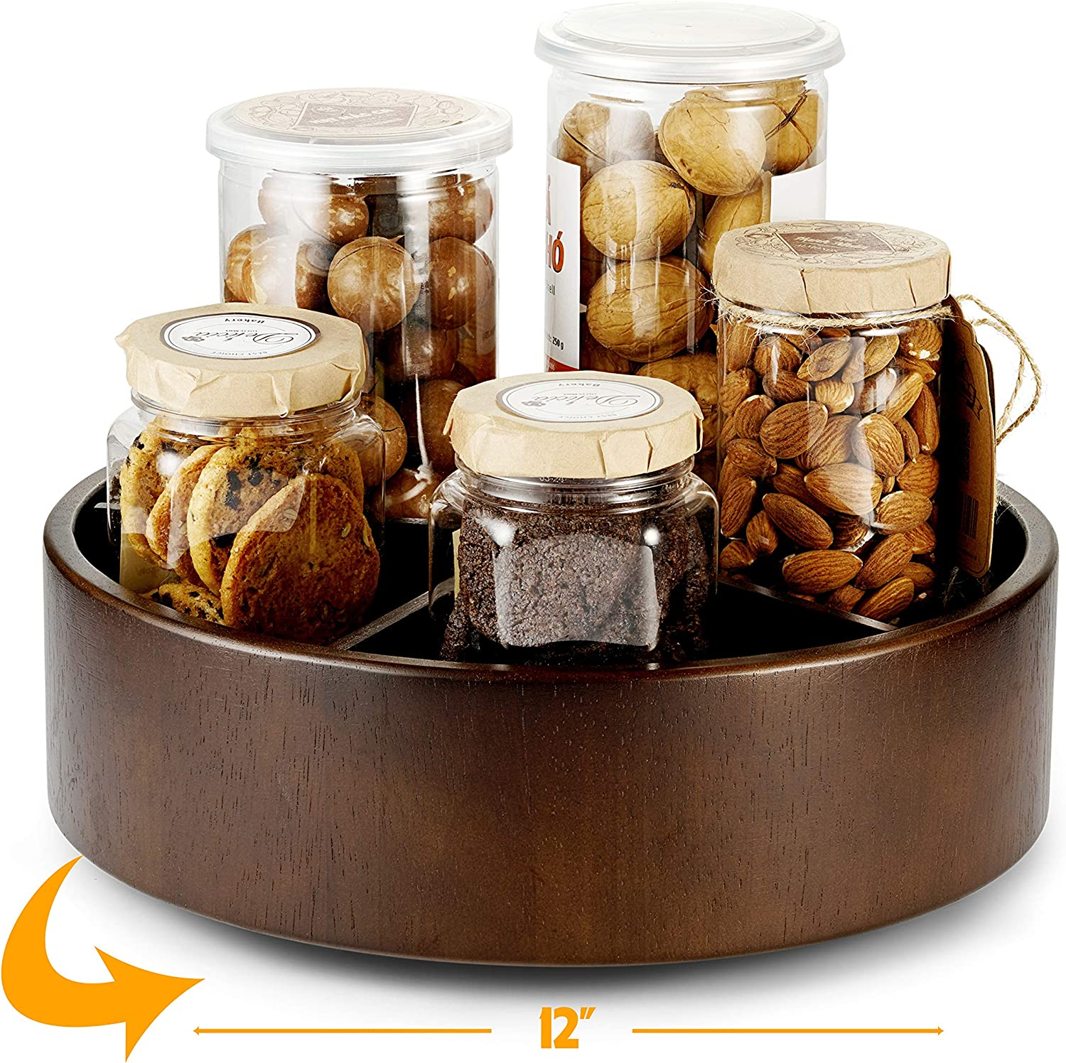 "12"" Lazy Susan Turntable Wood - Kitchen Turntable Storage Food Bin Container - Divided Spinning Organizer - 5 Sections - for Kitchen Cabinets, Pantry, Refrigerator, Countertop (Walnut Color)"