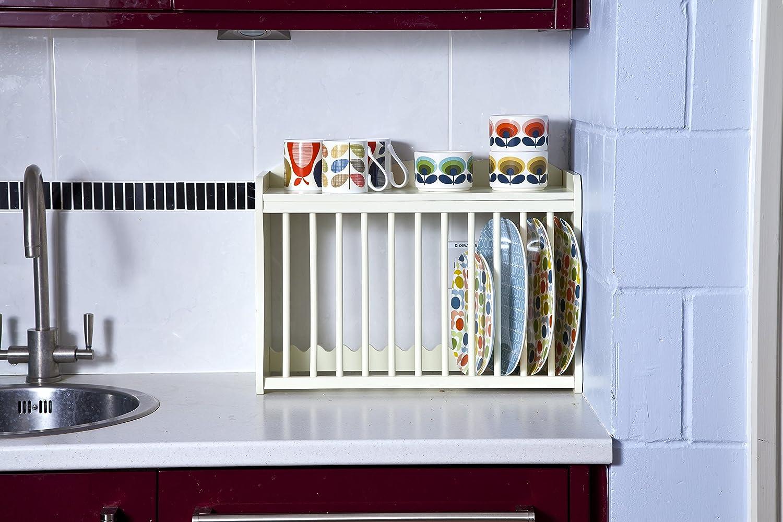 Küchenregal für Teller und Tassen, Wandmontage, Farbe: Buttermilk ...