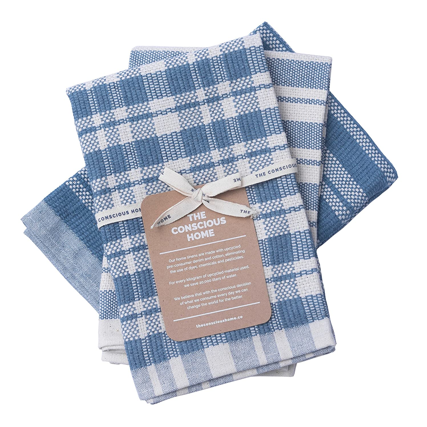 Eco Luxury Cotton Tea Towels | 100% Eco-Friendly Upcycled Denim Cotton Kitchen Towels | Soft and Super Absorbent, Premium Quality | Natural and Blue, Beautiful Design | 3-Pack, 50 x 66 cm. The Conscious Home TCHKT3