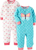 Carter's Baby Girls' 2-Pack Fleece Footless Pajamas