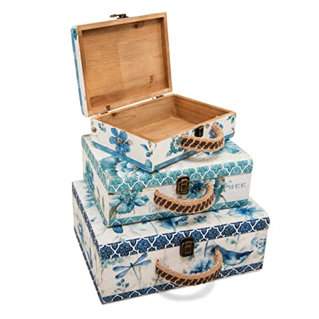 Soidea Juego de 3 Maletas Decorativas de Madera Pintada con diseño Vintage, Adornos Grandes para
