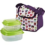 Fit & Fresh Kids' Morgan Insulated Lunch Bag Set with Reusable Containers and Ice Pack, Full Zip Lunch Box with Padded Shoulder Strap for Girls, Hoot Owl