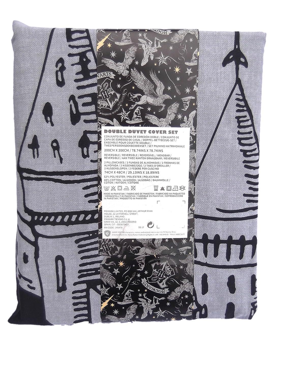 Primark Home Harry Potter - Conjunto de funda edredón y almohada para cama individua, matrimonio, King, blanco y negro, Double 200CM X 200CM + 2 ...