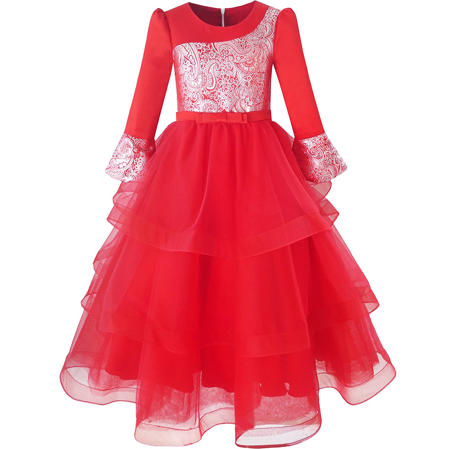 Sunny Fashion Flower Girls Dress Lace Hem Wedding First Communion Size 6-14