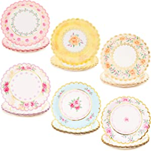 Floral Paper Plates for Baby Shower (7 In, 48 Pack)