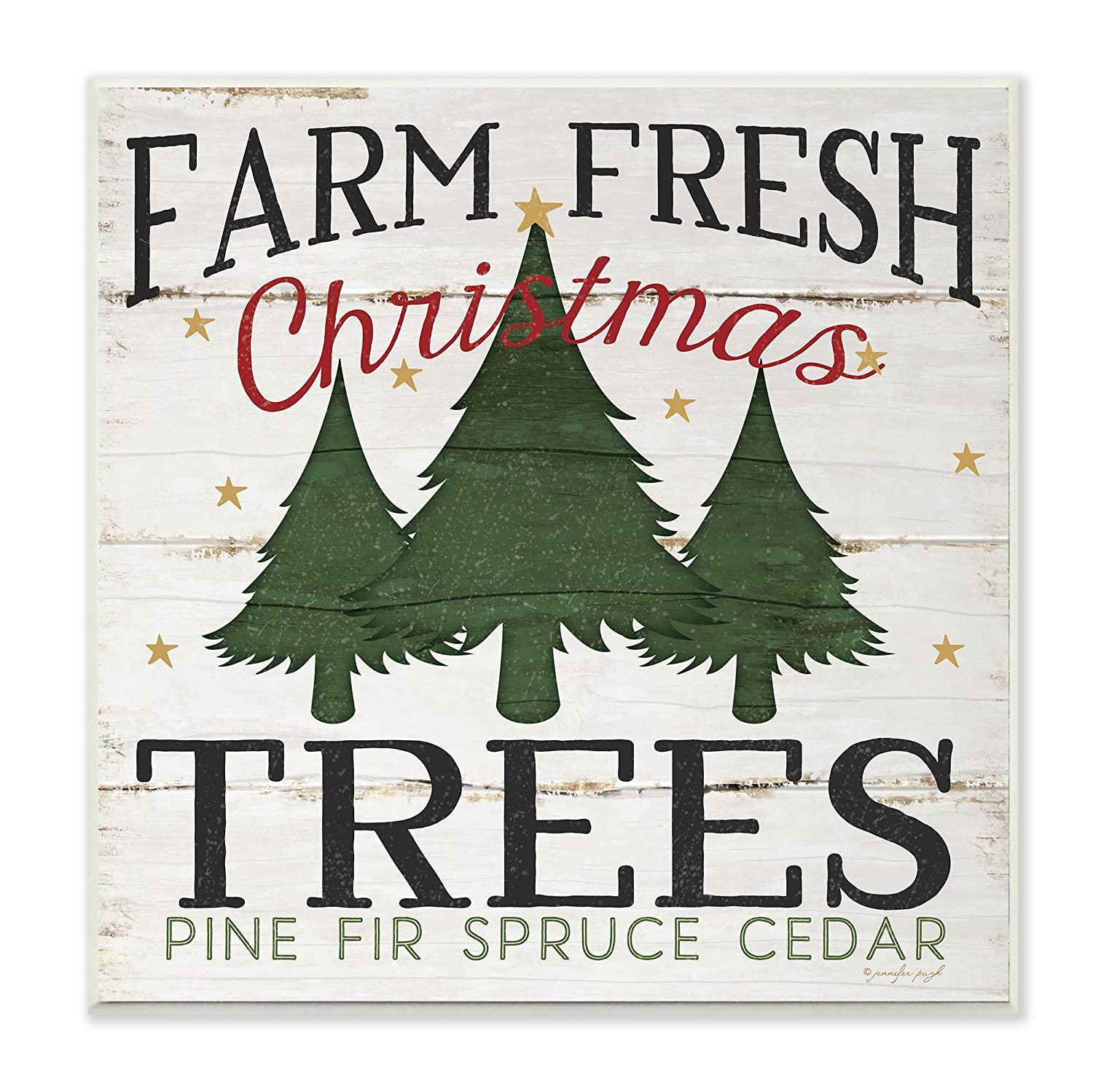 The Stupell Home Décor Collection Farm Fresh Christmas Trees Wall Plaque, 12x12, Multi-Color