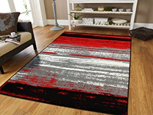 Large Grey Modern Rugs For Living Room 8x10 Abstract Area Rugs Rugs For Office and Kitchen Clearance Red Black Ivory Cheap Rug Sets, Large 8x11 Rug
