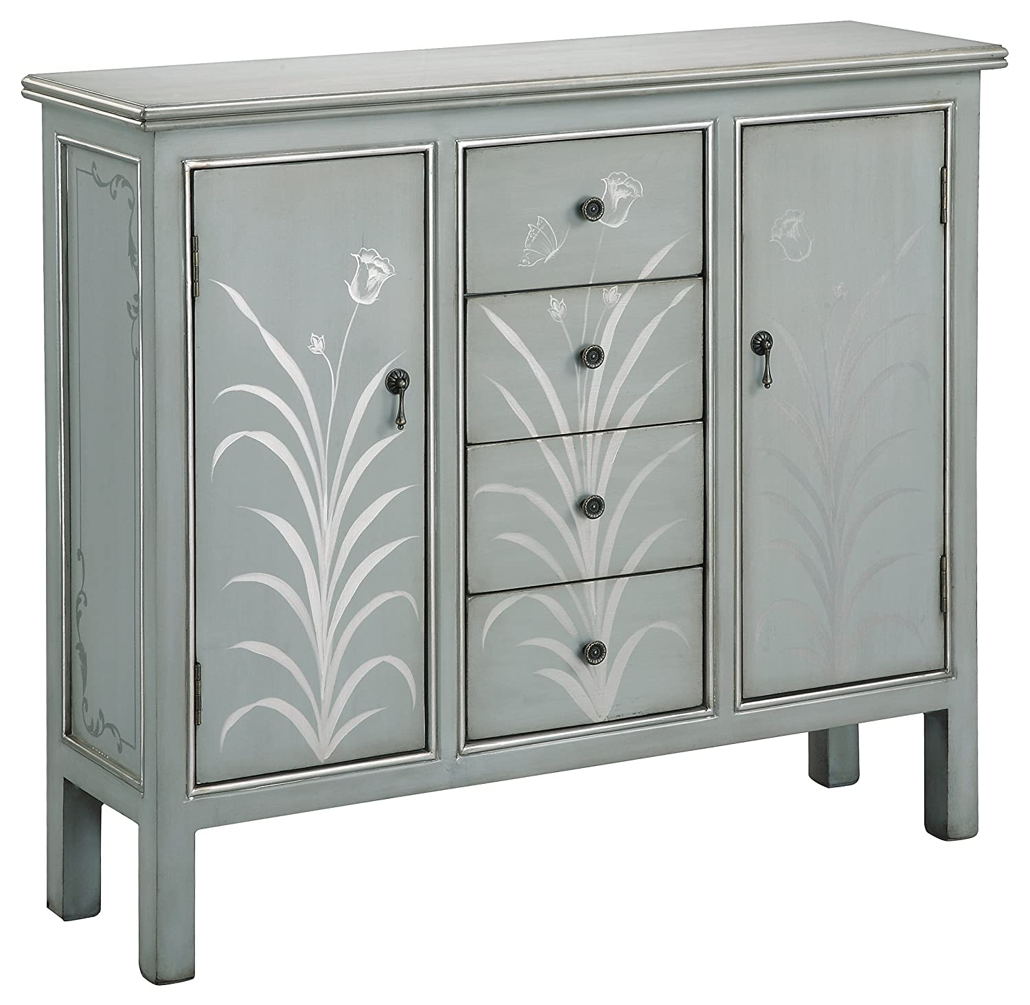 Amazon.com: Stein World Furniture Selina Cabinet, Silver Blue Grey: Kitchen  U0026 Dining