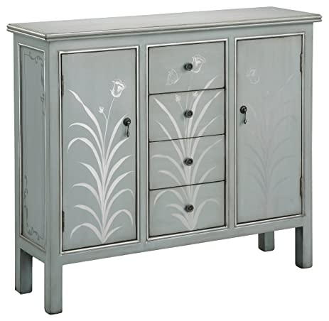 Stein World Furniture Selina Cabinet, Silver Blue Grey