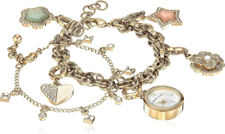 Anne Klein–Vestido de aleación de Metal de Cuarzo y Reloj, Color: Gold-Toned (Modelo: AK/3044chst)