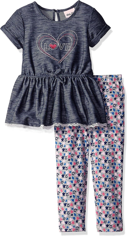 Little Lass Girls 2 Piece Legging Set Denim Lace