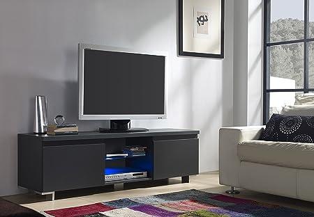 Mueble TV de 2 Puertas en Color Gris Antracita con LED: Amazon.es: Hogar