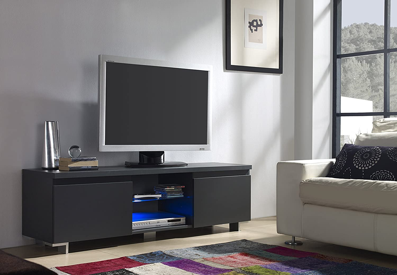 Meuble TV 2 porte en gris anthracite avec LED: Amazon.fr: Cuisine ...