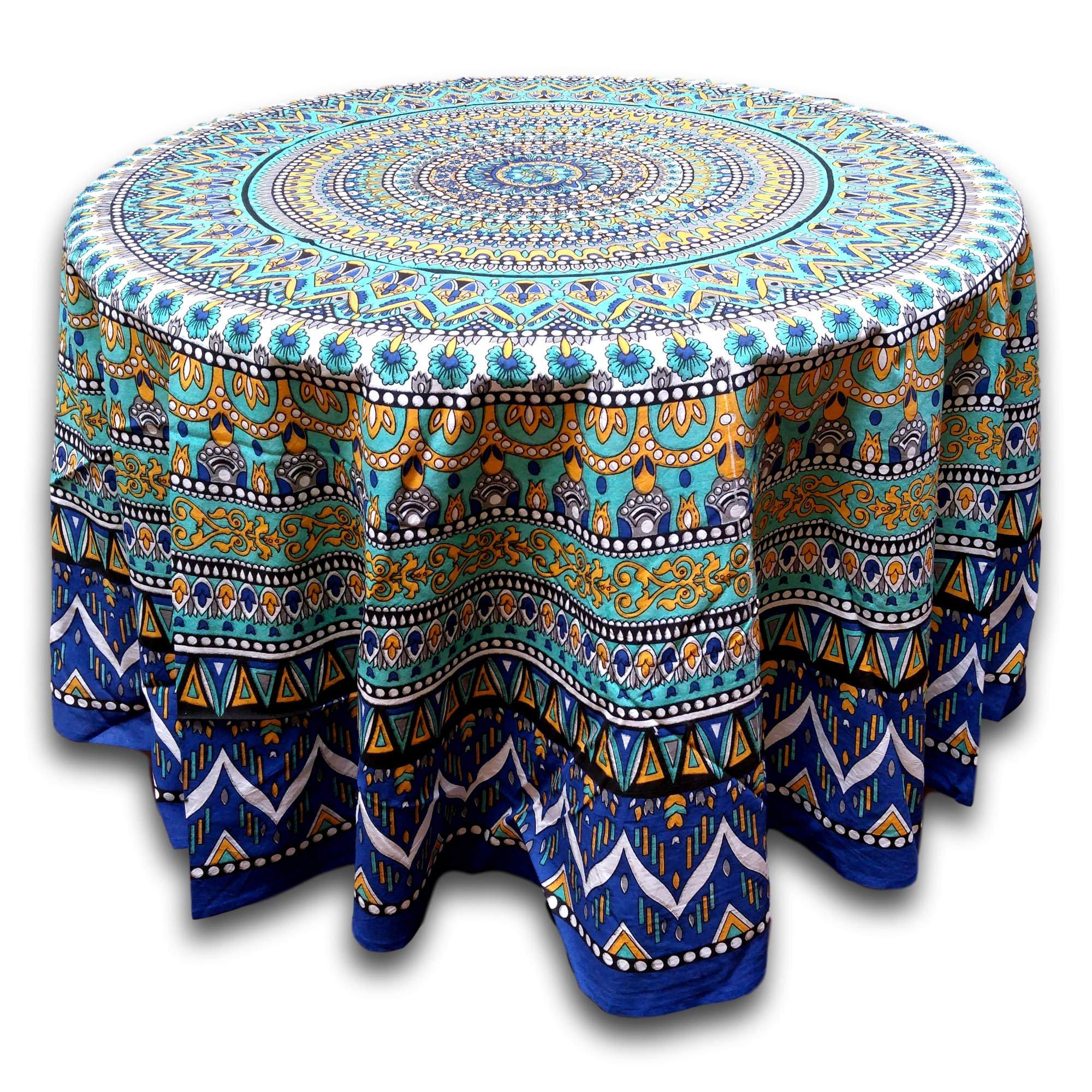 India Arts Handmade Cotton Geometric Mandala Floral Tablecloth Round Beach Sheet Beach Throw (Blue Green, 88 inches Round)