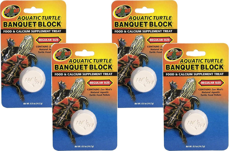 Zoo Med 4 Pack Aquatic Turtle Banquet Block Supplement Treats, Size Regular