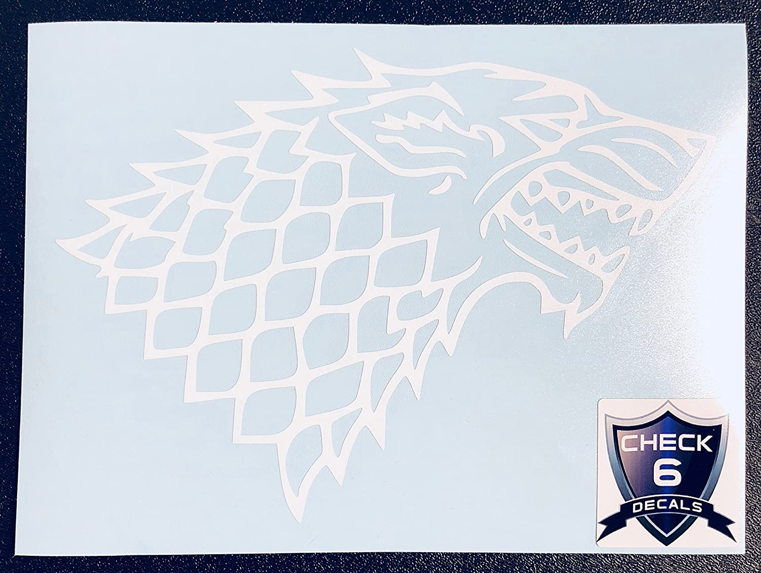 C60068 White Game of Thrones Stark Wolf 7x5 Check6
