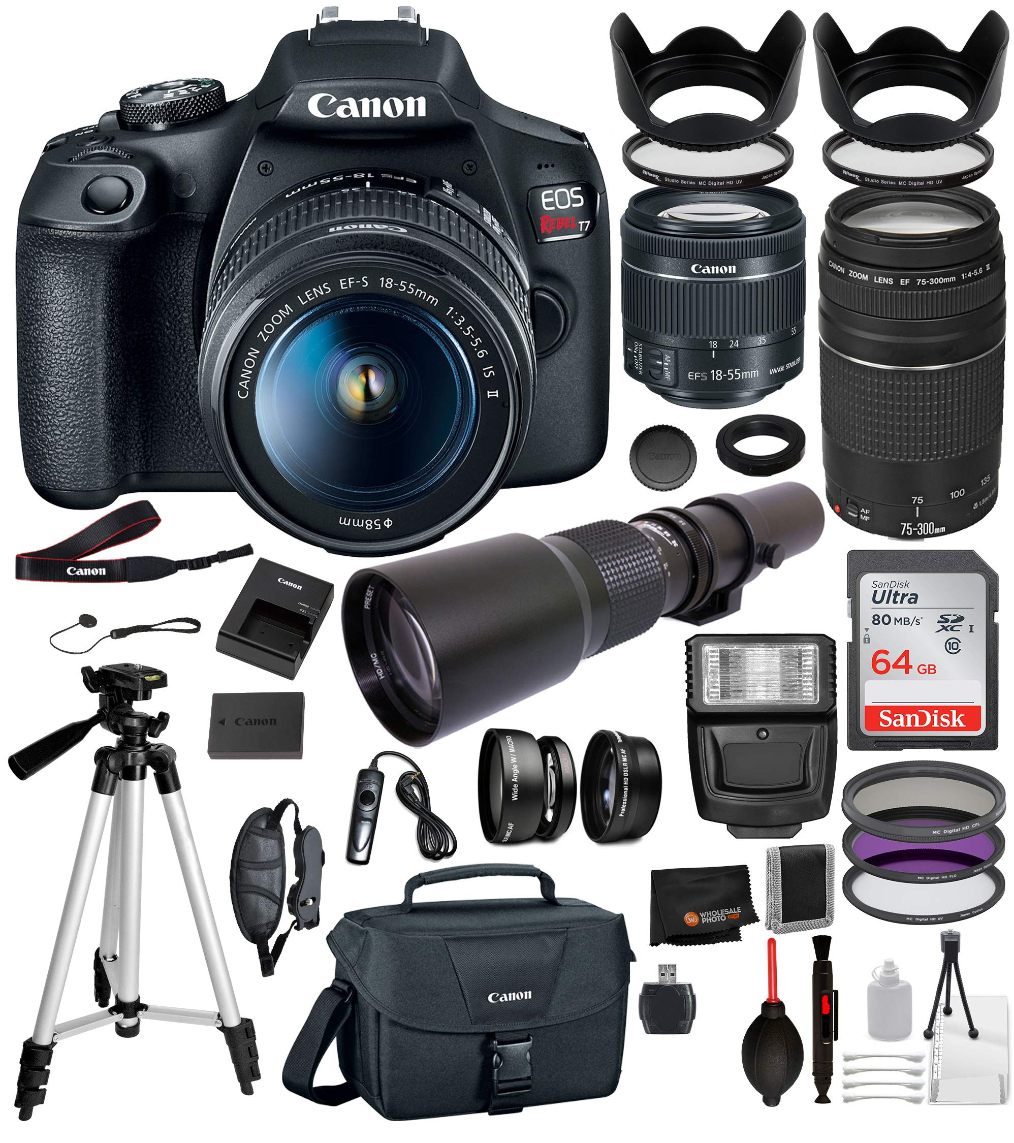 Canon EOS Rebel T7 Digital SLR Camera with EF-S 18-55mm is ii(2727C00 USA), Canon EF 75-300mm Telephoto Lens (Black) 22PC Professional Bundle - 500mm PRESET Lens - SanDisk 64gb SD Card + More