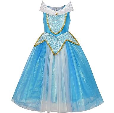 Sunny Fashion Princess Aurora Costume Briar Rose Dress Up Blue Size 5-12