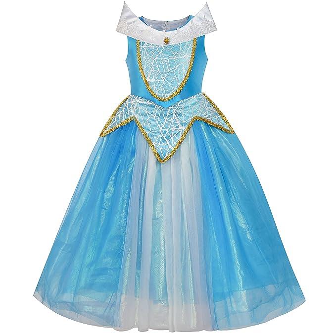 LX51 Sunny Fashion Vestido para niña Princesa Aurora Disfraz Brezo Rosa Arriba Azul 5 años