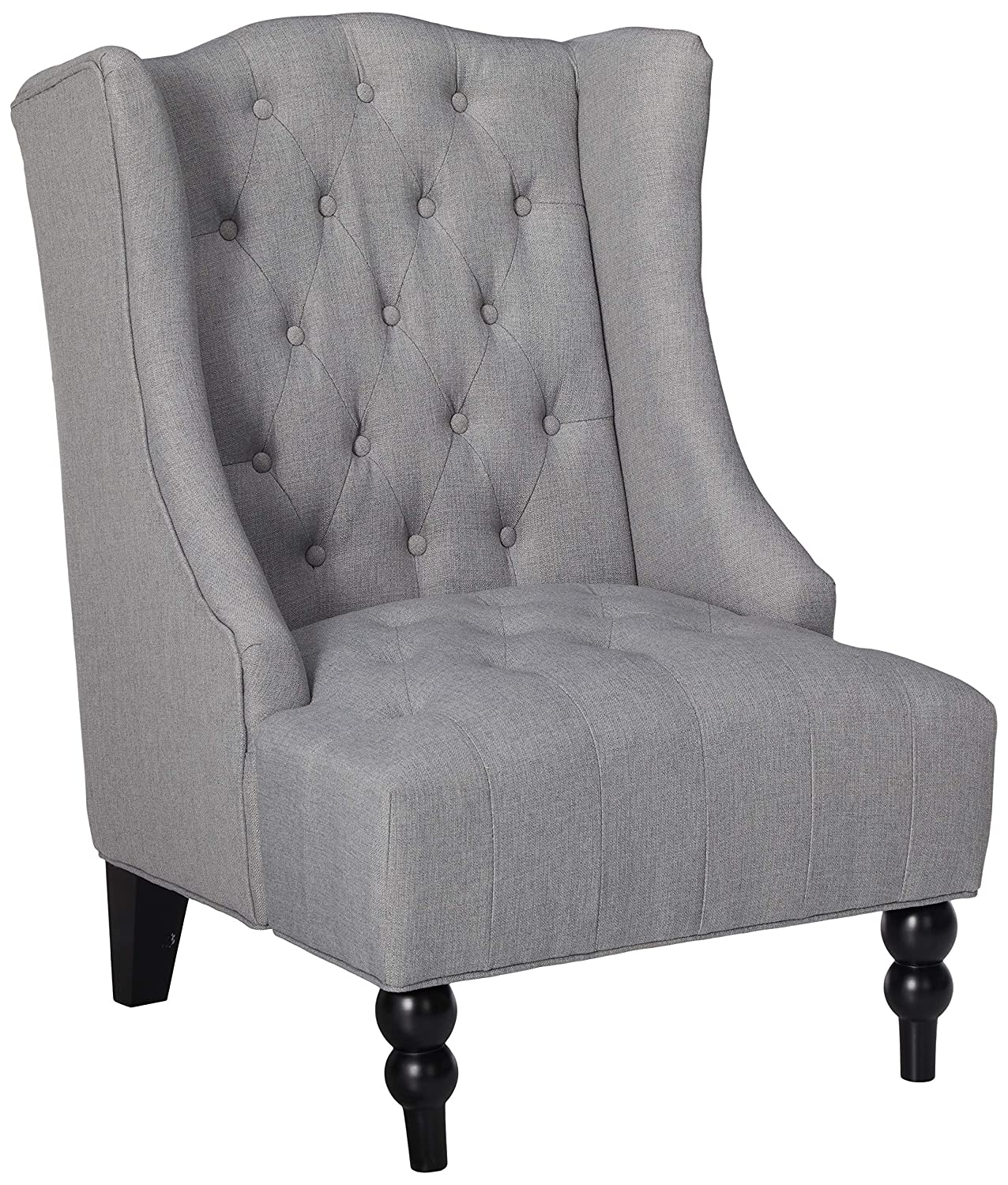 Amazon com great deal furniture clarice tall wingback tufted fabric accent chair vintage club seat for living room silver home kitchen