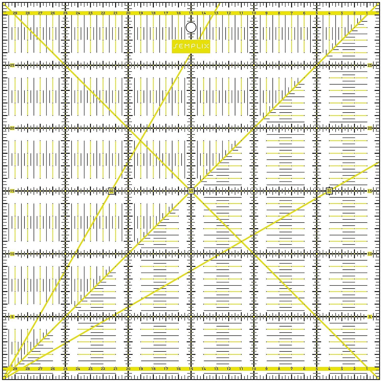 pink 30 x 30 cm transparent mit cm Skala und Winkelfunktionen SEMPLIX Patchwork-Lineal Quilt-Lineal ideal f/ür Patchwork und zum Basteln