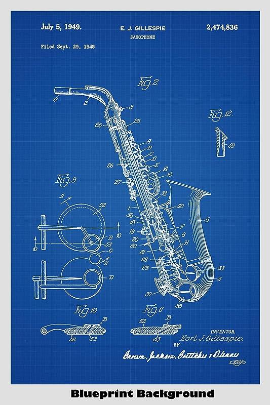 Sax Player Musician Band Director Print Gift S0011 Patent Art Saxophone