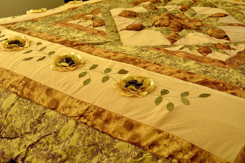 Green DaDa Bedding BM6118L Beige Runway Polyester Patchwork 5-Piece Comforter Set Queen//Full