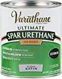 Rust-Oleum Varathane 9341H 1-Quart Classic Clear Oil Based Outdoor Spar Urethane, Satin Finish